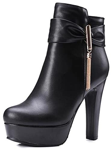 Women's Elegant Bowknot Fringe Round Toe Side Zipper Bridal Short Boots Chunky High Heel Platform Ankle Booties