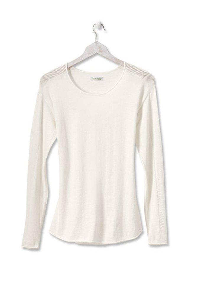 Orvis Fine-Gauge Luxe Mesh-Stitch Pullover, Bone, Large