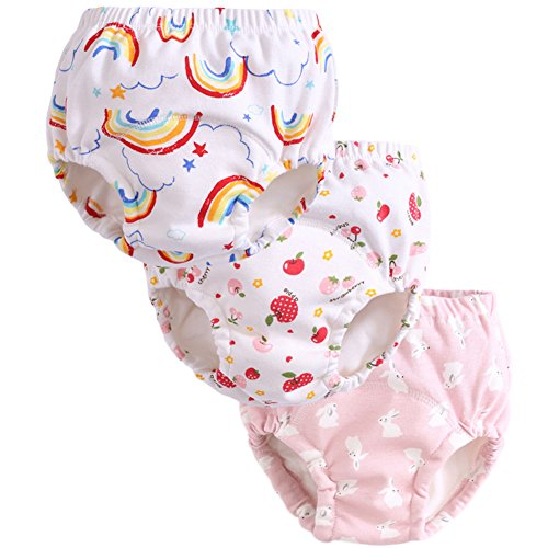 3Pcs Graphic Potty Training Underwear Baby Girls Reusable Nappies Cloth Diaper Kids Toilet Training Pants,5T (Best Nighttime Reusable Nappy)