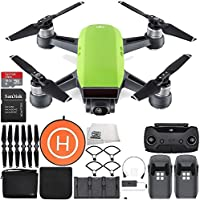 DJI Spark Portable Mini Drone Quadcopter Fly More Combo Landing Pad Bundle (Meadow Green)
