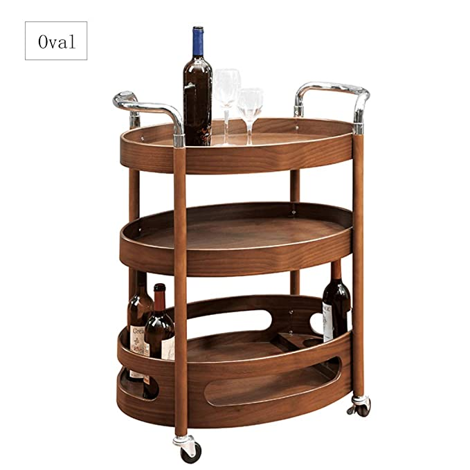 Amazon.com: SQINAA Round Wooden Kitchen cart with Wine Rack,Multi-Purpose bar cart Serving cart with 4 Wheels Night Stand Table End Table for Restaurant ...