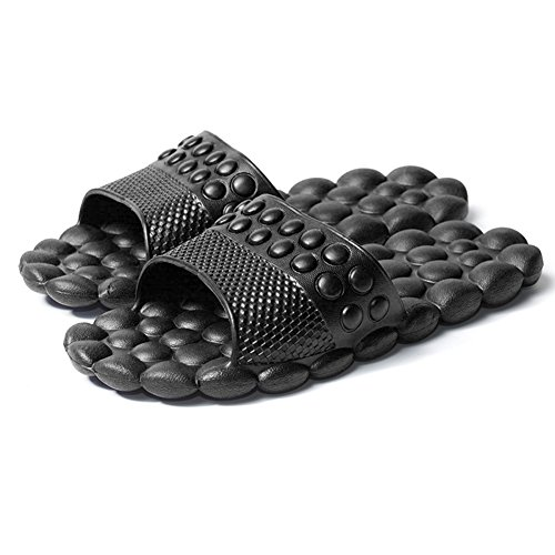 Spa Massage Foam Non-slip Bathroom Slipper Shower Household Sandal (Asian 44(US 9.5), Black)