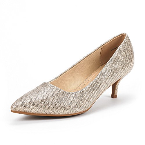 DREAM PAIRS Women's Moda Gold Glitter Low Heel D'Orsay Pointed Toe Pump Shoes Size 6 M US