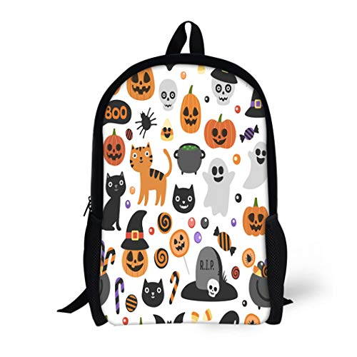Pinbeam Backpack Travel Daypack Cute Halloween Pattern Smiling