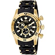 Men's 0140 Sea Spider Collection 18k Gold Ion-Plated and Black Polyurethane Watch