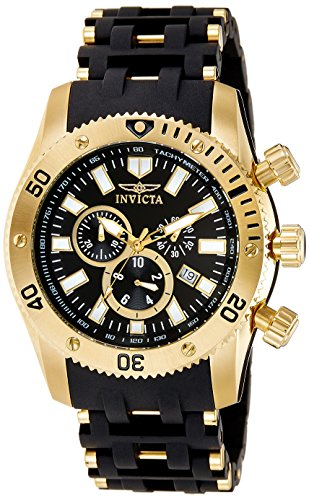 Invicta Coin Edge Bezel - Invicta Men's 0140 Sea Spider Collection 18k Gold Ion-Plated and Black Polyurethane Watch