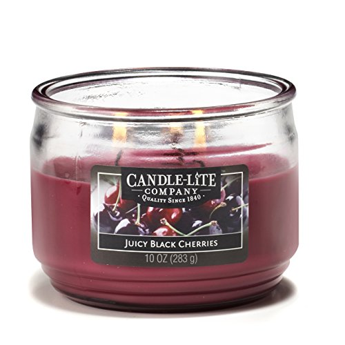 CANDLE-LITE Everyday Scented Juicy Black Cherries 3-Wick 10oz Medium Glass Jar Candle, Fruit Berry Fragrance