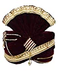 INMONARCH Mens Wedding Zari Work Turban Pagari Safa Groom Hats TU1085 23-Inch Maroon