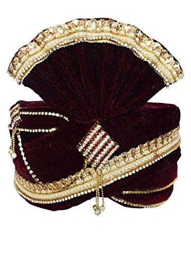 INMONARCH Mens Wedding Zari Work Turban Pagari Safa Groom Hats TU1085 22-inch Maroon by INMONARCH