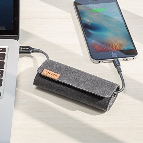Anker PowerLine+ Lightning Cable (3ft) with Pouch, Nylon Braided Charging Cable for iPhone, iPad and More (Gray) by Anker (Image #2)