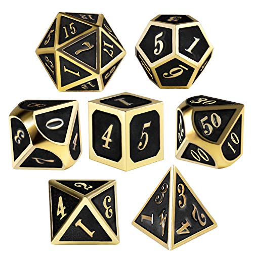QMAY Metal Dices Set, 7 Pieces Metal D&D Dice Role Playing Dice for Dungeons and Dragons RPG Games & Pathfinder Shadowrun - with Metal Box, Velvet Bag and 2 Pencils(Black Gold) ...