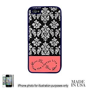 Live the Life You Love Infinity Quote (Not Actual Glitter) - Vintage Coral Infinity Black Damask Lace iPhone 4 4S Hard Case - BLACK by Unique Design Gifts