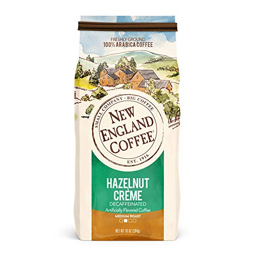 New England Coffee Hazelnut Creme, Decaffeinated Medium Roast Ground Coffee, 10 Ounce -