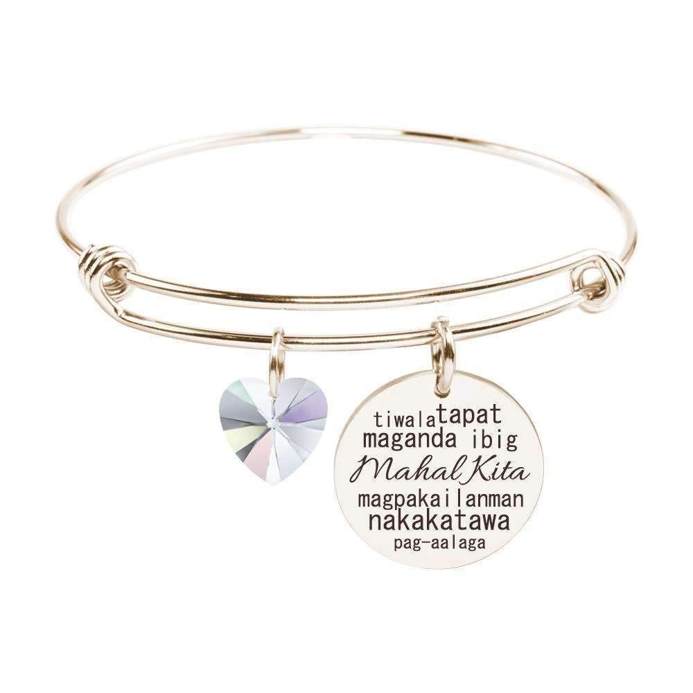 Pink Box I Love You Bangle in Tagalog made with Crystals from Swarovski