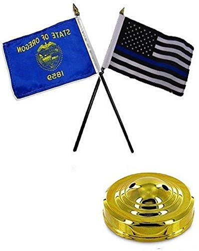 Cardinal Desk Lamp - ALBATROS Oregon State with USA Police Blue 4 inch x 6 inch Flag Desk Set Table Stick with Gold Base for Home and Parades, Official Party, All Weather Indoors Outdoors