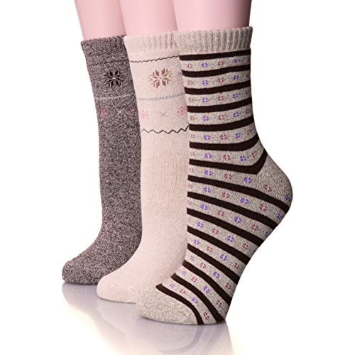 EBMORE Womens Thick Cotton Socks Soft Warm Crew Winter Cold Weather Socks 3 Pack (Brown)