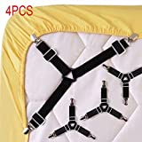 #9: Enjoygous 4PCS Bed Sheet Holder Straps Adjustable Triangle Sheet Straps Fitted Sheet Straps Suspenders Fastener Grippers Corner Holder for King Queen Twin Size,Mattress Covers, Sofa Cushion (A)