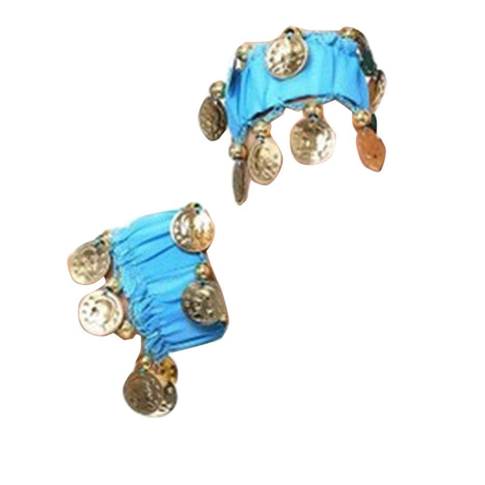 LaoZanA Belly Dance Costume Accessory Wrist Bands Bracelet Golden Coins for Women