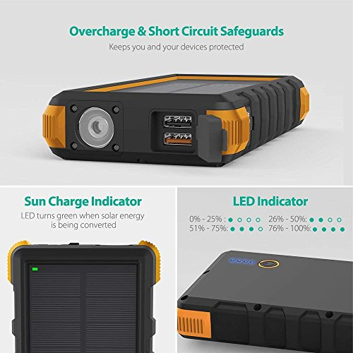Solar Phone Charger RAVPower 25000mAh Outdoor Portable Solar Power Bank with USB C Input, Waterproof Battery Pack for Outdoor Camping (Yellow)