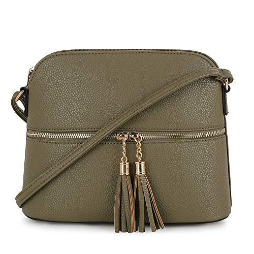 SG SUGU Lightweight Medium Dome Crossbody Bag with Tassel | Zipper Pocket | Adjustable Strap (Olive)