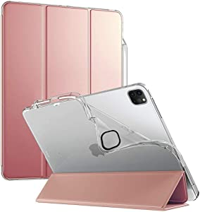 Poetic Lumos X Series Designed for Apple iPad Pro 12.9 2020 & 2018 Case, Smart Cover with Apple Pencil Holder, Flexible Soft Clear TPU Back, Slim Fit Trifold Stand Folio Front, Rose Gold