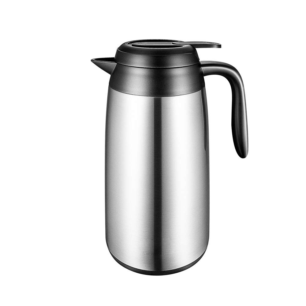 Jaxonn Home 2.2L Vacuum Jug Flask Insulated Double Walled 304Stainless Steel Coffee Pot with Press Button for Tea, Coffee, Hot & Cold Drinks (Size : 2200ML) by Jaxonn Home
