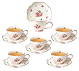 Jusalpha Porcelain Tea Cup and Saucer Set-Coffee Cup Set with Saucer and Spoon FD-TCS11 (Set of 6)