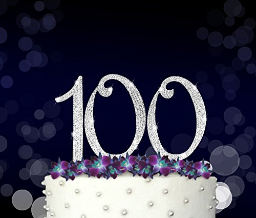 100, 100th Happy Birthday Cake Topper, Anniversary, Crystal Rhinestones on Silver Metal, Party Decorations, Favors