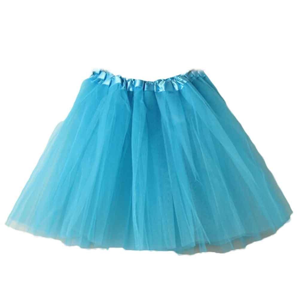 Creazrise Women's Classic Elastic 3 or 4 Layered Tulle Tutu Organza Lace Mini Skirt Sky Blue