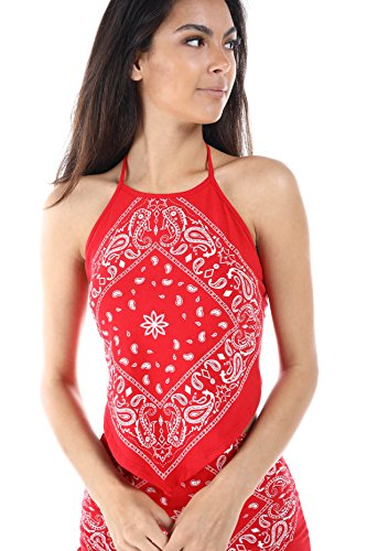 Print Spandex Halter Top - Casual Bandanna Tops, Dress, and Skirt,Made in USA (Small~Large) (Small, HalterRed)