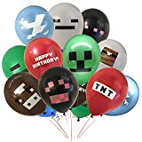 "Giant 24 Pack of Pixel Miner Crafting Style Gamer Party Balloons - Large Double Sided 12"" Latex Balloons - Gamer Birthday Party Supplies - TNT, Cow, Ghost, Cloud, Creepah, Spider Party Decorations"