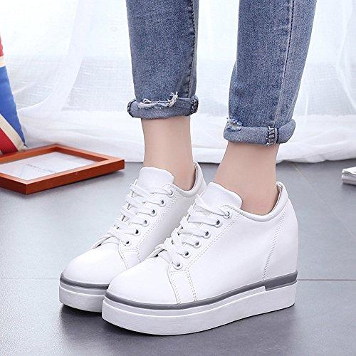 Cybling Mode Dold Häl Plattform Kil Skor För Kvinnor Utomhus Tillfälliga Snörning Gå Sneakers Vita
