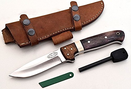 CFK Cutlery Company USA Custom Handmade D2 Tool Steel Autumn Bone  Walnut Wood Hunter Skinning Camping Knife with Horizontal Sheath  Fire Starter Ro…