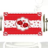 Twin Modern Ladybugs - Party Table Decorations - Baby Shower or Birthday Party Placemats - Set of 12