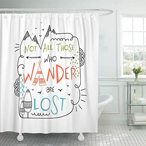 "Emvency 72""x78"" Shower Curtain Waterproof Bathroom Home Decor Creative Boho and Hippie Colorful Text Not All Those Who Wander are Lost On Grey Polyester Fabric Adjustable Hooks Set"