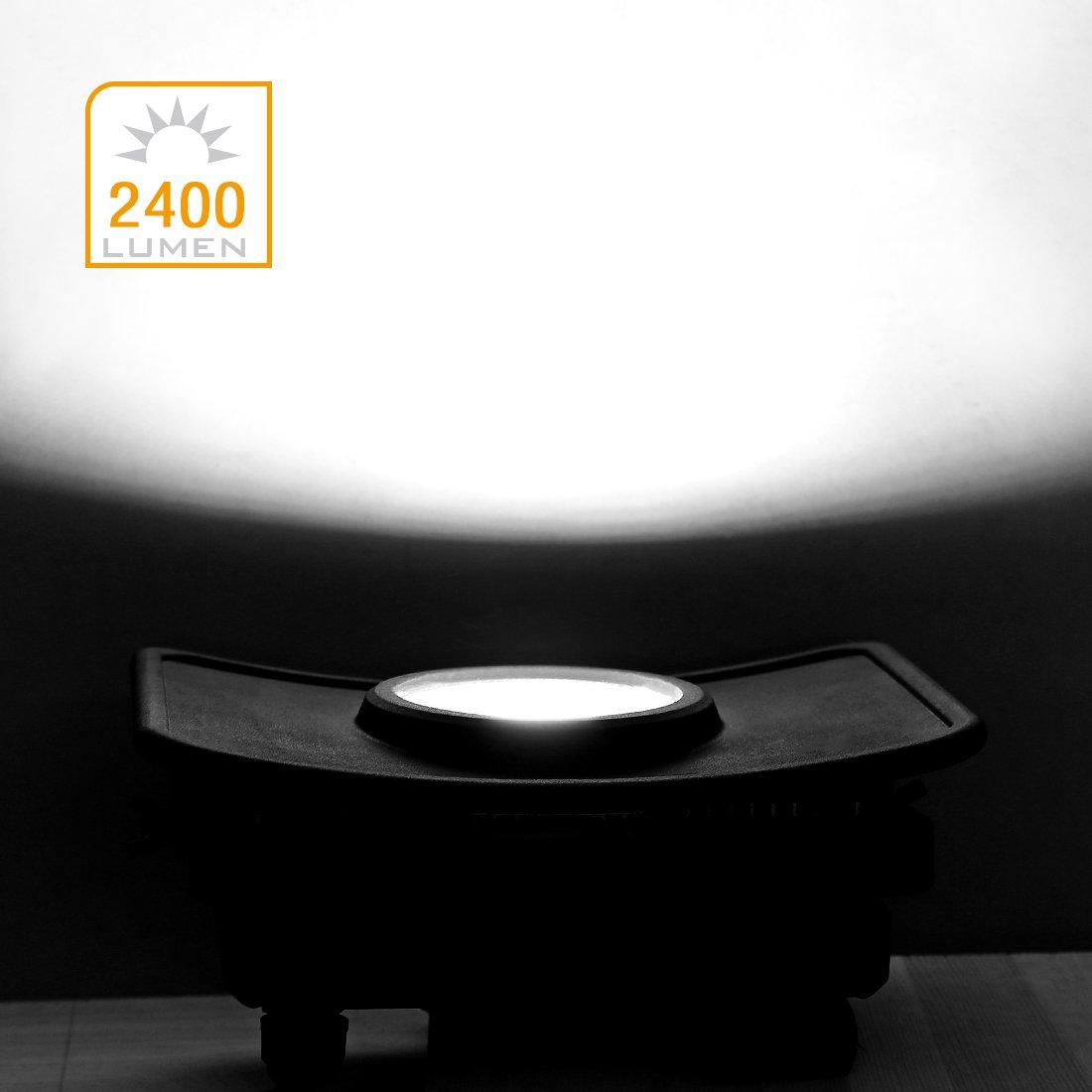 EverBrite Faretto LED da Esterno 30W 2400 lumen Bianco Illuminante 5000K Corridoio Proiettore Faro LED Impermeabile IP54 Casa Illuminazione Interna ed Esterna Luce per Giardino