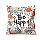 Decorative Pillow Cover - wendana Sayings Be Happy with Flowers Throw Pillow Covers 18 x 18 Pillow Covers Decorative Throw Pillows Covers for Teen Girls