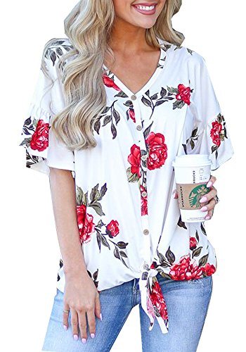 - Womens Floral Print Flutter Sleeves V neck Button Down Font Tie Knot T Shirts Blouses Tops,White,Large