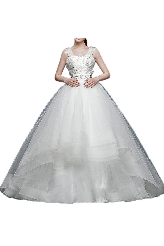 Victory Bridal Glamour Organza Hochzeitskleider Brautkleider Damen Brautmode Lang Steine Traeger Lang