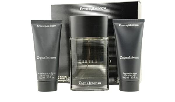Amazon.com   Zegna Intenso by Ermenegildo Zegna for Men. Set-Eau De  Toilette Spray 3.3-Ounces   Aftershave Balm 3.4-Ounces   Hair And Body Wash  3.4-Ounces ... 60a60c5e0c1
