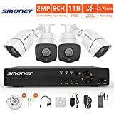 [8CH Expandable System] 1080P Wired Security Camera System,SMONET 8 Channel 2MP Outdoor/Indoor Surveillance System with 1TB HDD(AHD CCTV DVR Kits), 4pcs Weatherproof Security Cameras,P2P, Remote View