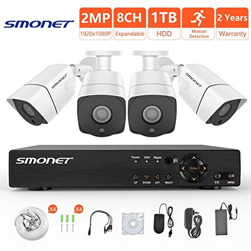[8CH Expandable System]1080P Wired Security Camera System,SMONET 8 Channel 2MP Outdoor/Indoor Surveillance System with 1TB HDD(AHD CCTV DVR Kits), 4pcs Weatherproof Security Cameras,P2P, Remote View