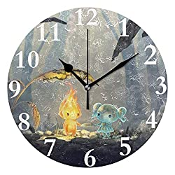 Ladninag Wall Clock Love Story Between Fire Boy and Water Girl Silent Non Ticking Decorative Round Digital Clocks for Home/Office/School Clock
