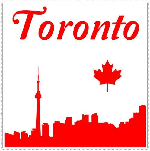 U.S. Custom Stickers Toronto Skyline Maple Leaf Square Sticker (4 - 4 Square Maple Inch