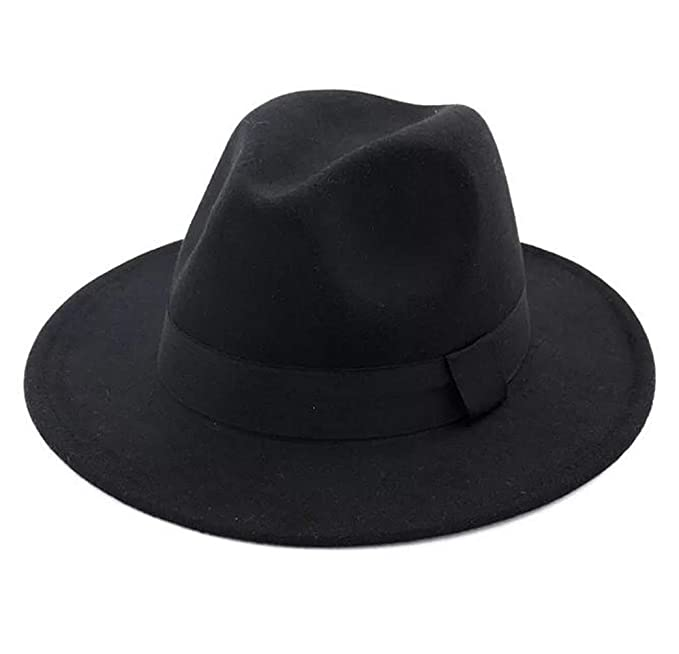 5e01c634 Lanzom Women Wide Brim Warm Wool Fedora Hat Retro Style Belt Panama Hat  (Black,