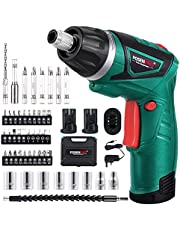 POSENPRO 9N.m Cordless Electric Screwdriver-with 48 Accessories BMC Set,2Pcs Rechargeable 7.2V 1500mAh Li-ion Batteries,6+1 Torque Gears, Adjustable 2 Position Handle,and a Built-In LED Light