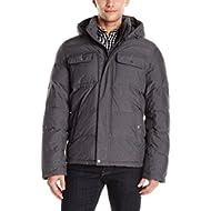 Men's Nylon Two Pocket Hooded Puffer Jacket