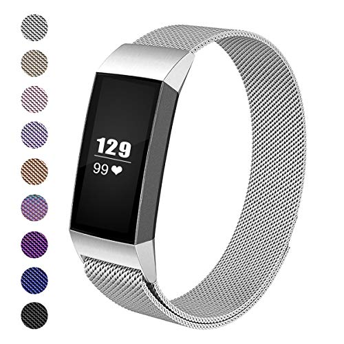 Wekin Replacement Bands Compatible with Fitbit Charge3 Fitness Tracker, Stainless Steel Mesh Bracelet with Unique Magnetic Closure Clasp for Charge 3 & Charge3 SE Wristband