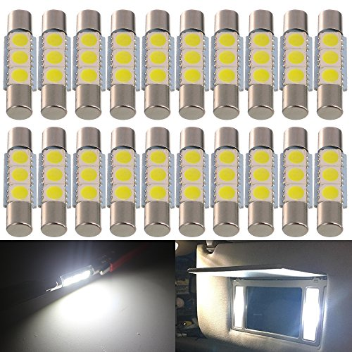AMAZENAR 20-Pack 50 Lumens Xenon White 28MM(1.1) - 31MM(1.25) 12V LED Festoon Light 5050 3-SMD Sun Visor Vanity Mirror LED Bulbs for Vehicle 6615F 6614F 3021 3022 3175 T-2 SF6/6 (White)