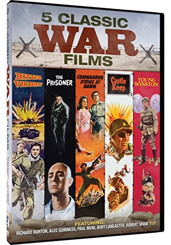 Classic War Movies - 5 Films - Young Winston, The Prisoner, Commandos Strike at Dawn, Castle Keep, Bitter Victory